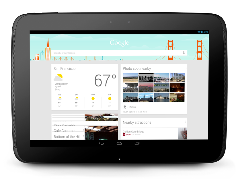 Google Now on a Nexus 10 - Photo by Google
