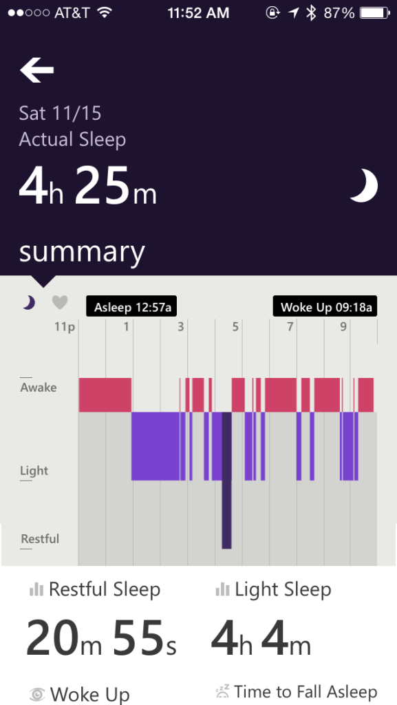 Microsoft Band Sleep Graph