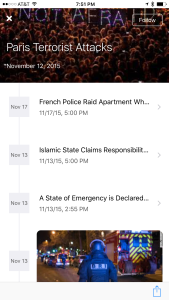 The timeline view allows for users to view a quick summary events so that they are able to catch up on recent developments quickly.